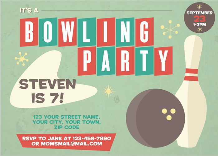 18 best birthday ideas images on Pinterest Anniversary parties - bowling flyer template free