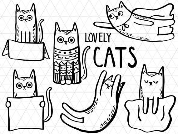 Lovely Cats Line Art, Cats Clip art, Cats Doodle, Cats Outline, Cats Coloring Page, Cats Printable, Cute Cats Clipart, Cats Download  This listing is for a clipart set of 6 digitally hand drawn high quality cat design elements (PNG+JPG). Can be used digitally or in print. Perfect for invitation design, scrapbooking, cardmaking, stickers, announcement cards, blogs, greeting cards, web design, decorations or anything!  ≈≈≈≈≈≈≈≈≈≈≈≈≈≈≈ WHAT YOU GET: ≈≈≈≈≈≈≈≈≈≈≈≈≈≈≈  • 6 individual clipart files…