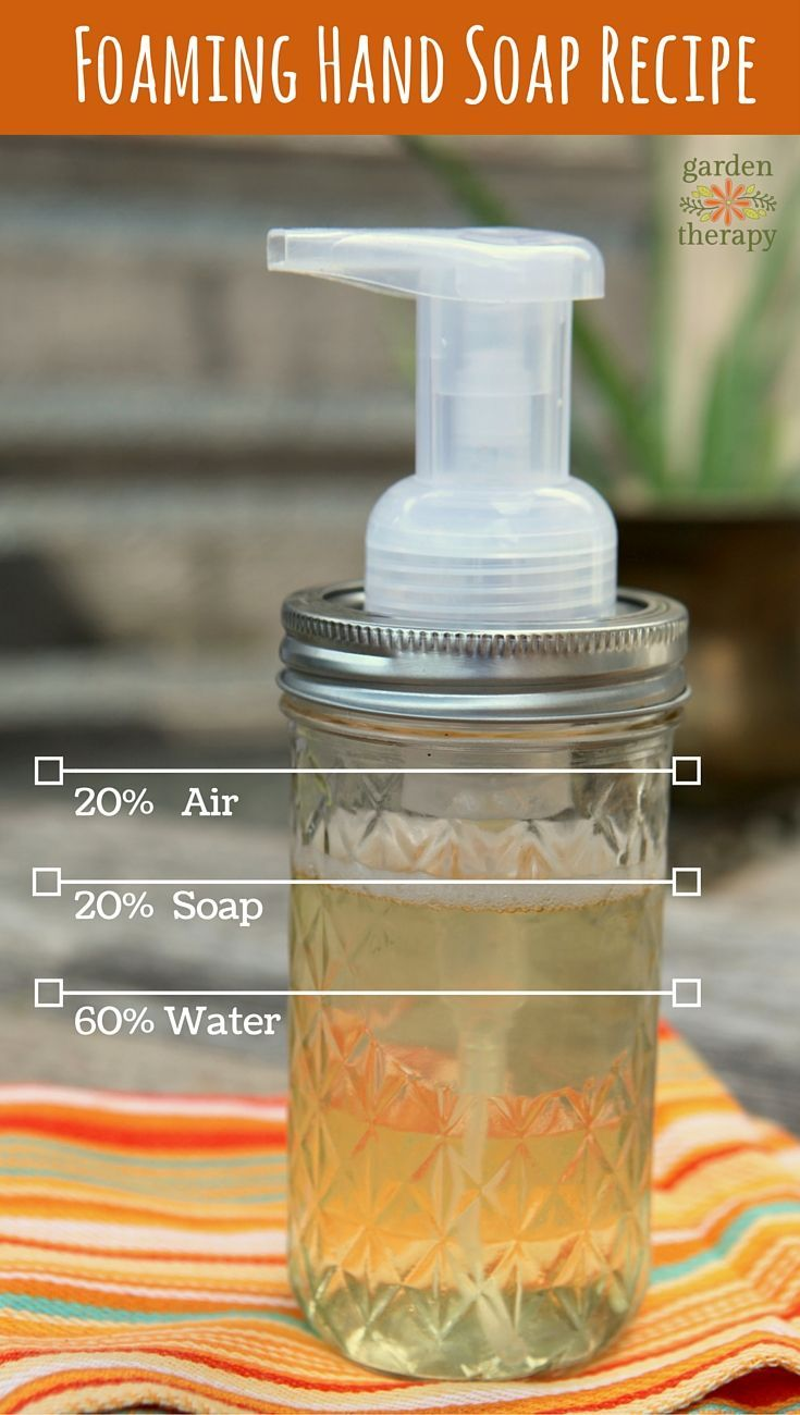 How to make the a DIY Mason jar foaming soap dispenser, plus a basic basic foaming hand soap recipe with step-by-step instructions.