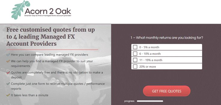 We are accepting advertisers for our managed forex accounts website. If you are a provider of a managed forex accounts service but are struggling to get clients, sign up with us at the link below and we will be in touch with you.  http://www.acorn2oak-fx.com/work-with-us.html