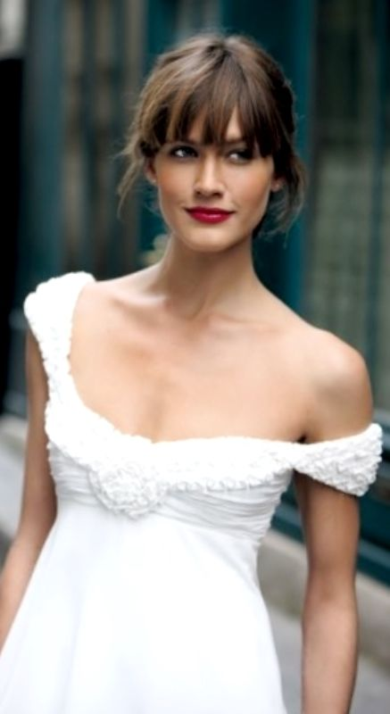 Bride's updo with bangs bridal hair Toni Kami Wedding Hairstyles ♥ ❷ Wedding hairstyle ideas Empire wedding gown red lipstick