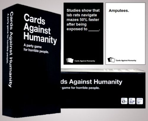 The funniest game I've encountered. Which means I am a horrible person.  The pdf version is free on cardsagainsthumanity.com