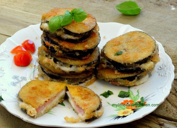 Mozzarella and ham eggplant sandwich