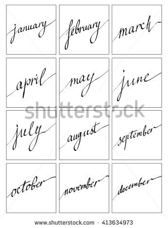 Handwritten names of months: December, January, February, March, April, May, June, July, August, September, October, November. Lettering for calendar, vector set