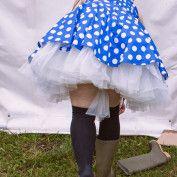 Alice in Wonderland Wedding - wellies and spotty dress in a muddy field!