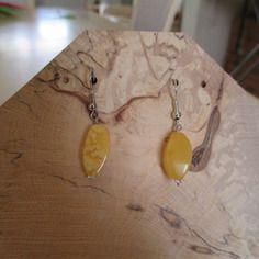 Boucles d'oreilles argent et  ambre jaune