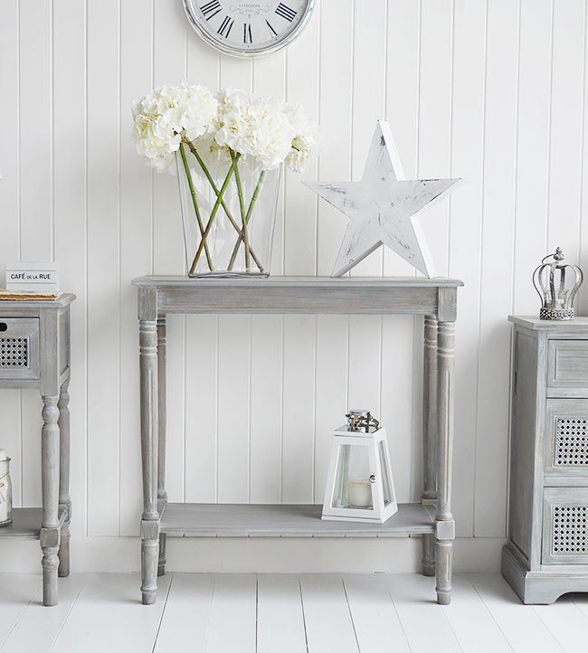 British colonial furniture small grey console table with for Small console table with shelf