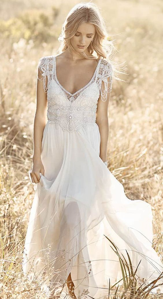 22 Casual Wedding Dresses For Summer Bohemian A Line Tulle Wedding Dress With Beadings Nad Bowknot Outdoor Weddings Country Rustic Weddings Woodland For