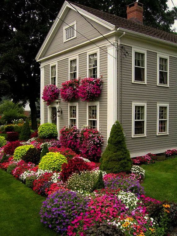 Summer front yard gardenGreen Thumb, Windowboxes, Windows Boxes, Greenthumb, Front Yards, Flower Gardens, Flower Beds, Gardens Border, Flower Boxes