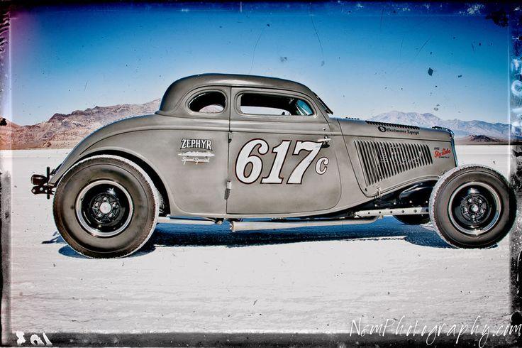 12x18 in. Classic Hot Rod Ford Roadster, Bonneville Salt Flats Garage Art