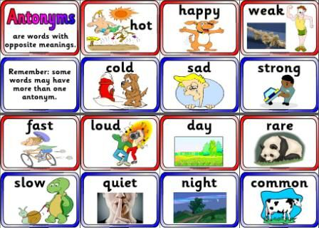Antonyms Cards for display or matching. Set of 30 pairs of antonyms (60 half A4 cards) Can be shown as a display or used to play a matching game.  Includes more difficult antonyms for higher ability/age groups e.g. condemn/praise, simple/complicated, humble/proud.  Also includes blank coloured cards for children to make their own antonym pairs.