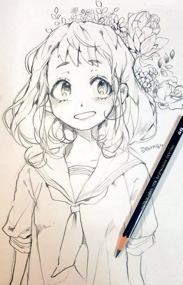 Fille dessiné à la main