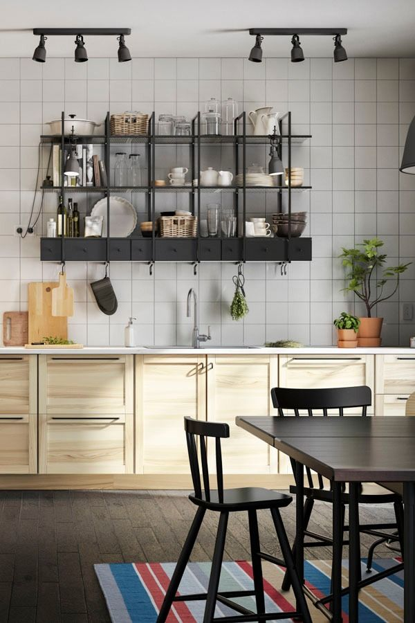 Store all of your kitchen utensils in reach and on display with IKEA FALSTERBO wall shelves! The shelves have a ledge to prevent whatever you place on them from sliding off.