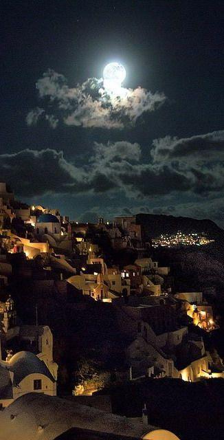 Oia under Moonlight ~ Santorini, Greece