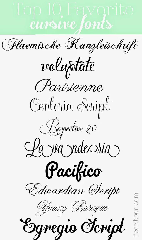 Top 10 Cursive Fonts