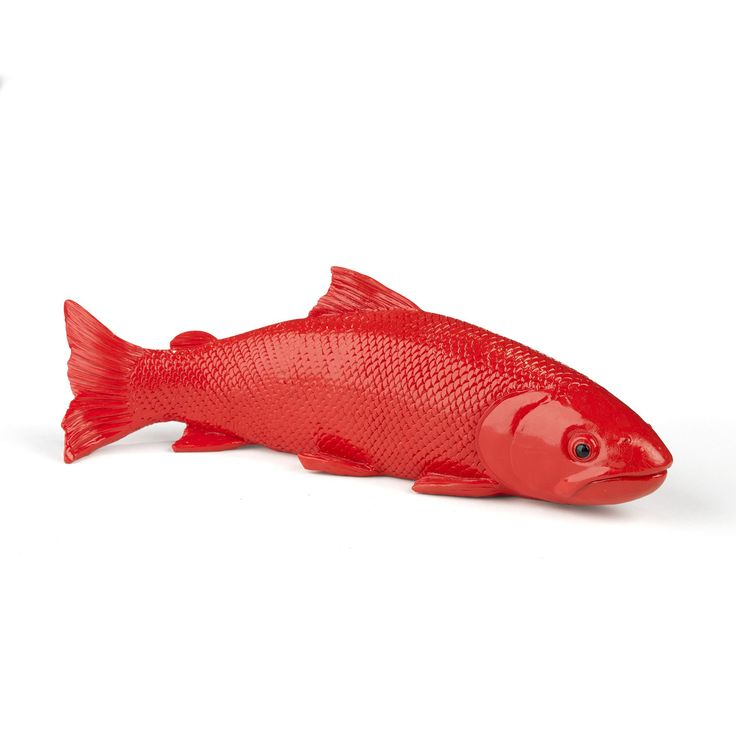 Objet d co poisson rouge 28cm rouge d co fish les for Objets decoration rouge et gris