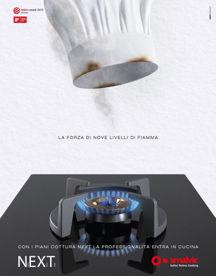 CLIENTE Smalvic. ADV per il nuovo piano cottura NEXT, avveniristico bruciatore sospeso. Vincitore del Reddot Award 2015 e del Design Award 2015 #adv #pubblicità #comunicazione #premi #cucina #tecnologia