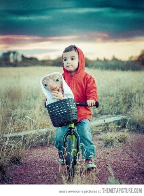 E.T. cosplay.  http://pinterest.com/SuburbanFandom/cosplay/   Oh if I had a boy...and could make his dad not make him batman.....  lovely little costume idea