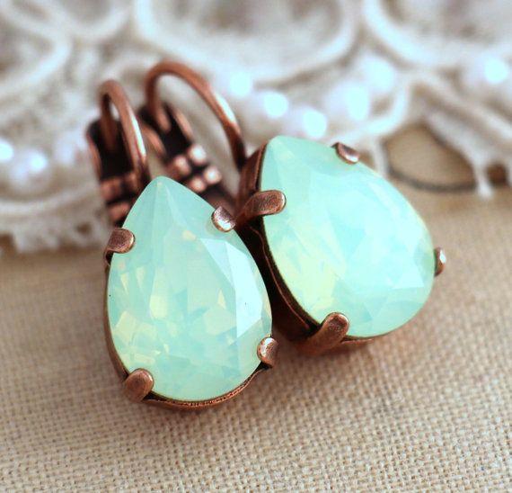 Mint Opal drop earrings, Opal Mint Drop Crystal earrings, Mint Opal Swarovski Droplet earrings, Gift for her, Wedding jewelry, Mint jewelry IF YOU WANT