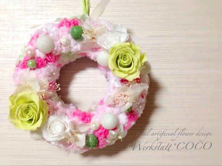 puffy wreath*green rose http://wercoco.theshop.jp/items/592241