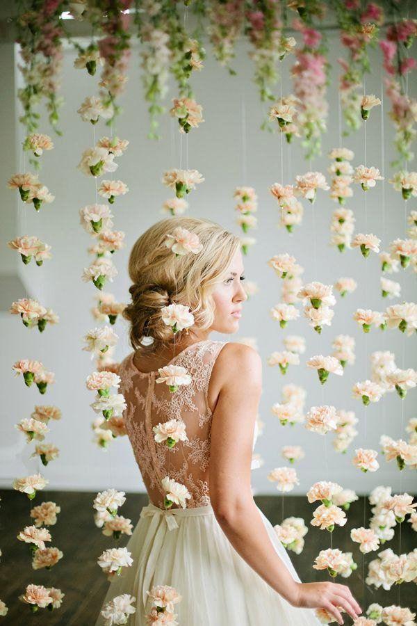 hanging flowers backdrop | Wedding Reception Backdrops via http://emmalinebride.com/decor/wedding-reception-backdrops/
