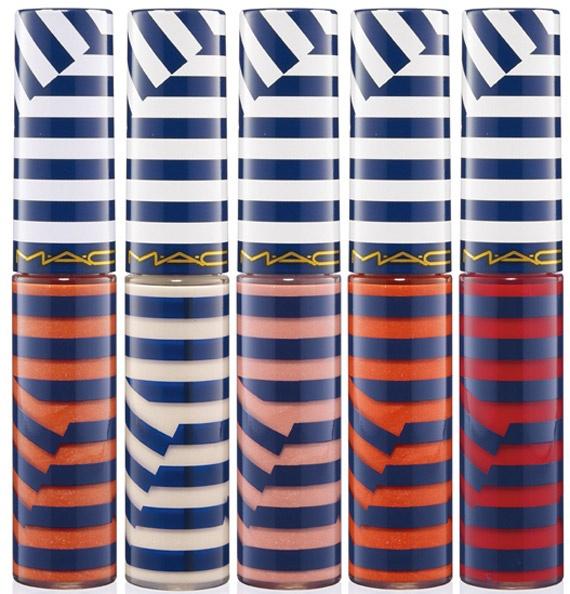 Per dare oltre al colore tanta brillantezza ci sono i Lipglass, 5 gloss labbra ($14.50):  - SEND ME SAILING, rosso aranciato;  - CUT LOOSE, bianco con glitter oro;  - ORANGE TEMPERA, pesca;  - BLESSEDLY, corallo;  - RIVIERA LIFE, rosso.