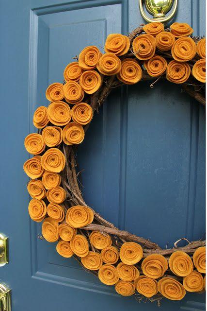felt crafts: Blue Doors, Felt Rose, Front Doors, Fall Wreaths, Autumn Wreaths, Flower Wreaths, Felt Flowers, Mustard Yellow, Doors Colors