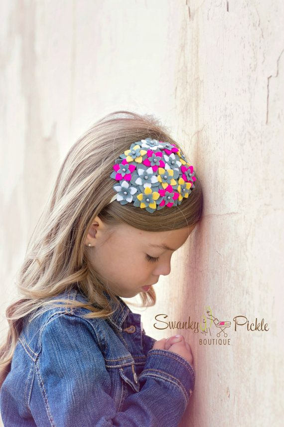 Rosa cinzento do bebê Headband Hot Pink Gray de SwankyPickleBoutique