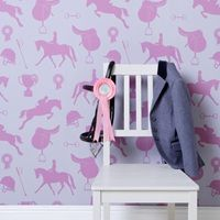 GIRLS WALLPAPER in Gymkhana Fuchsia #dreamkidsbedroom @cuckoolandcom
