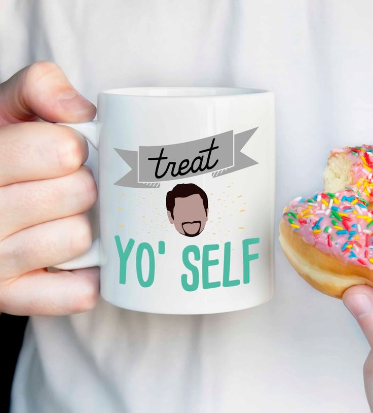 """Treat Yo' Self!"" ~ Tom Haverford - This listing is for an 11 oz white ceramic mug printed with an unique design made by me. This mug is perfect for that Parks and Rec fan in your life, or just ""treat More"