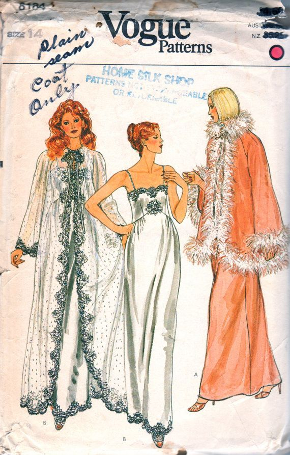 Vogue 8184 Misses Nightgown Negligee Robe womens vintage sewing pattern by mbchills
