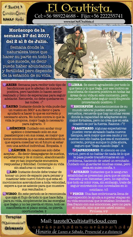 Horóscopo de la semana, está y todos los servicios en www.tarotelOcultista.cl - +56989224688 / Sesiones de TAROT, RUNAS, QUIROMANCIA, OCLUMANCIA, MEDIUM, TERAPIAS, REIKI.