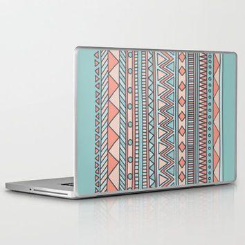 Tribal #4 (Coral/Aqua) Laptop & iPad Skin by Haleyivers   Society6