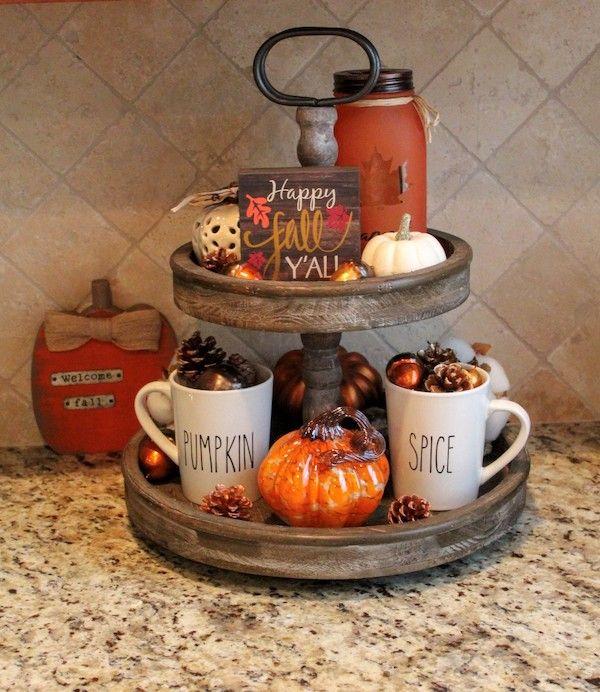 20 Tiered Tray Fall Decor Ideas Tray Decor Fall Thanksgiving Decor Fall Tiered Tray Decor