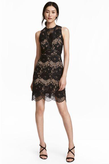 Krajkové šaty - Černá - ŽENY   H&M CZ