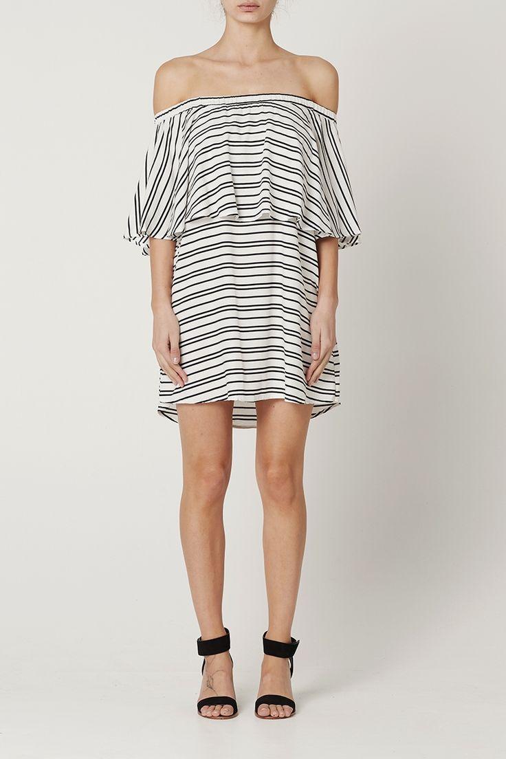 May the Label Valerie Off Shoulder Dress Stripe