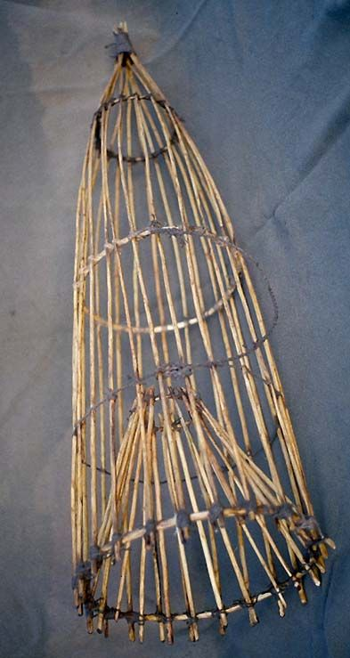 A fence of sticks across a small stream directed fish through an opening that lead into the fish trap. When the trap is full, the pointed end is untied and the fish are removed. The trap is retied …