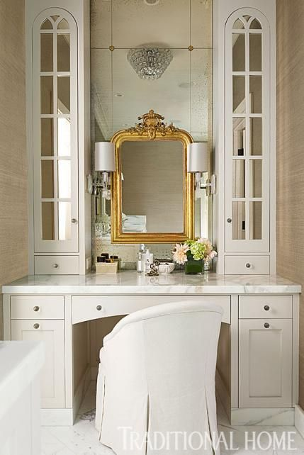Beautiful dressing room area. Interior design by Kelie Grosso, Maison Luxe. Photo by John Granen. From Traditional Home.