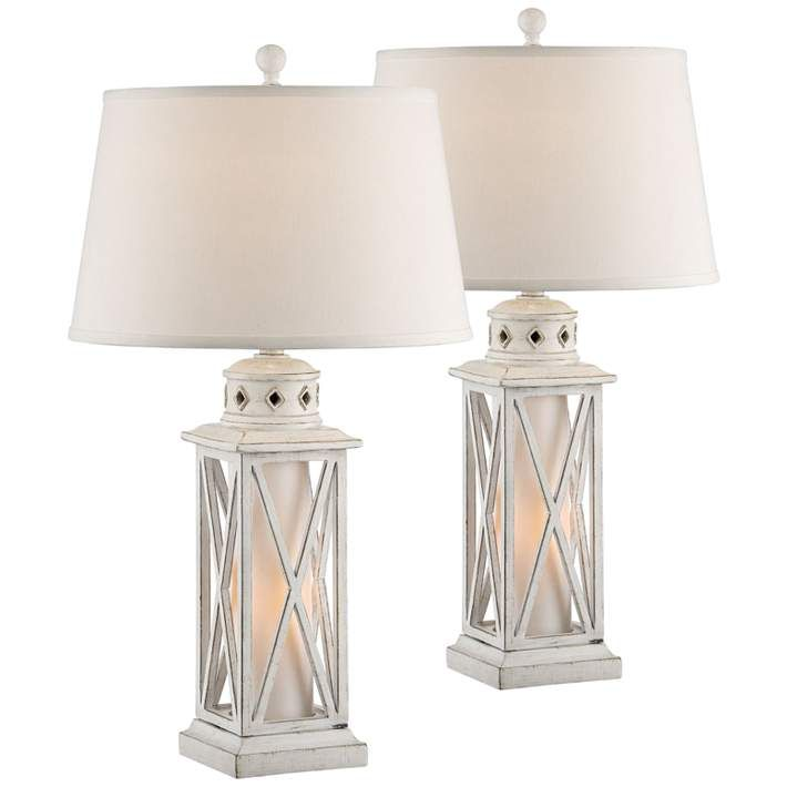 Galveston Island White Table Lamp W Night Light Set Of 2 35v55 Lamps Plus Table Lamp Lamp Coastal Lamp