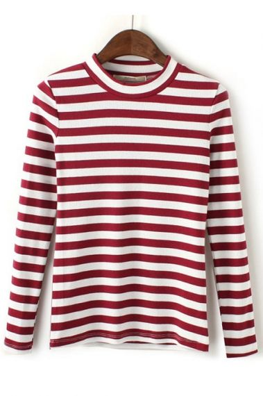 Red and White Holiday Stripe Round Neck T-shirt #Holiday #Fashion #Red_and_White