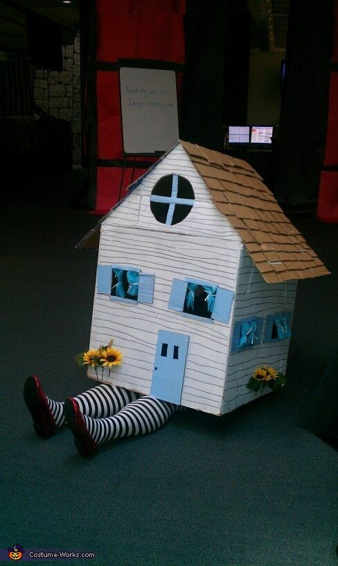 Dezaray: I found a huge cardboard box and then built a lid to fit on top. I shingled the roof, painted the house then added the details.