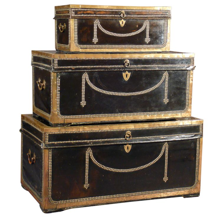 Set of 3 Leather & Camphor Wood Officer's Trunks circa 1800 England