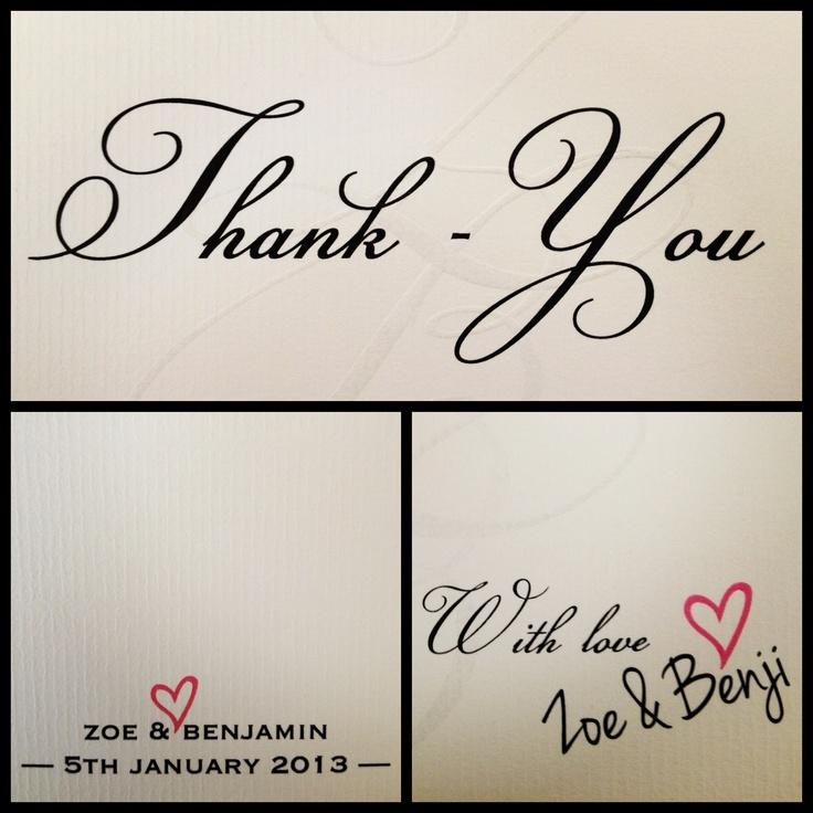Mr & Mrs Benji Marshall Wedding Stationary I designed - Thank-you cards (front back inside)