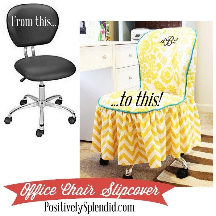 DIY Office Chair Slipcover FREE Tutorial - https://sewing4free.com/diy-office-chair-slipcover/