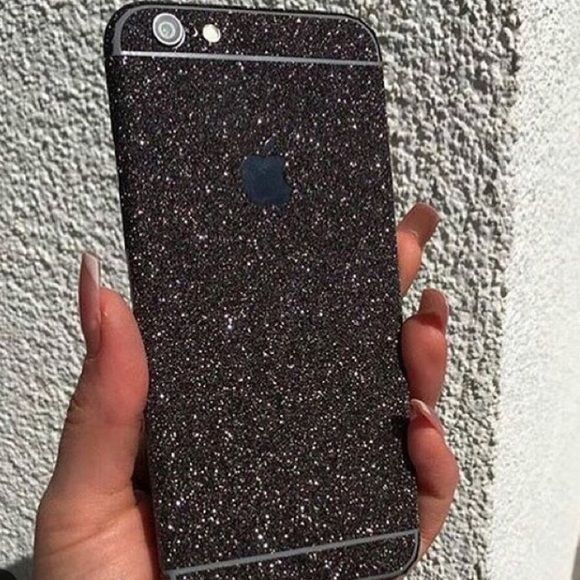 Black Glitter iPhone Skin ✼ Available black glitter skin for iPhone 6+/6s+ We also have available for iPhone 6/6s. This is not a case, this is a sticker. Check out our profile to buy it. Visit our website to see more colors and styles: www.elementaccessories.net and follow us on Instagram: @element.accessories Accessories Phone Cases