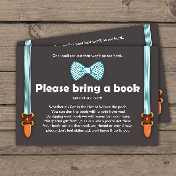 Baby shower Bring a book card Little man Baby Boy Oh Boy Baby shower Bow tie Gentlemen Book insert Book card Blue brown DIY PRINTABLE 0063