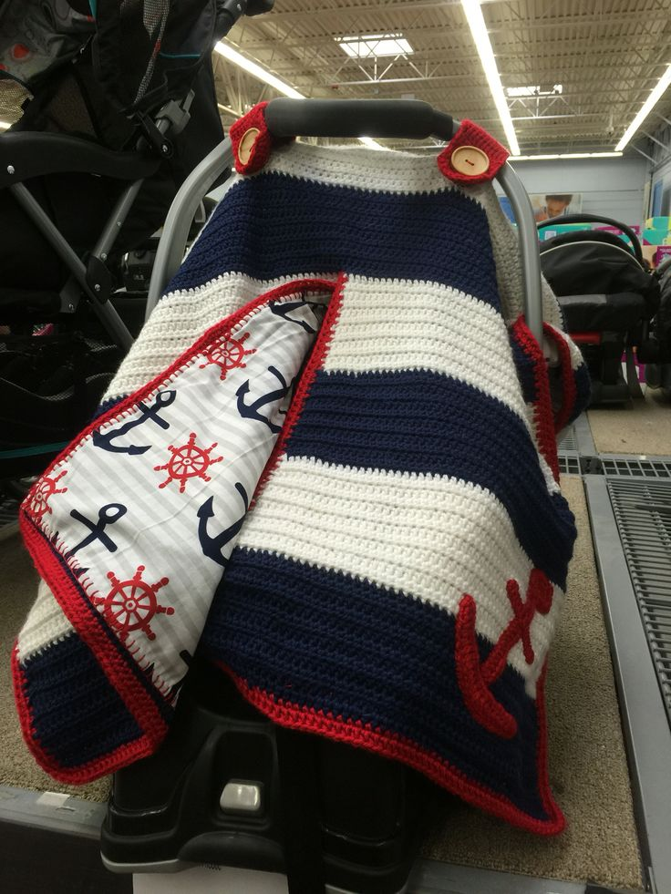 Crochet Baby car seat cover Nautical