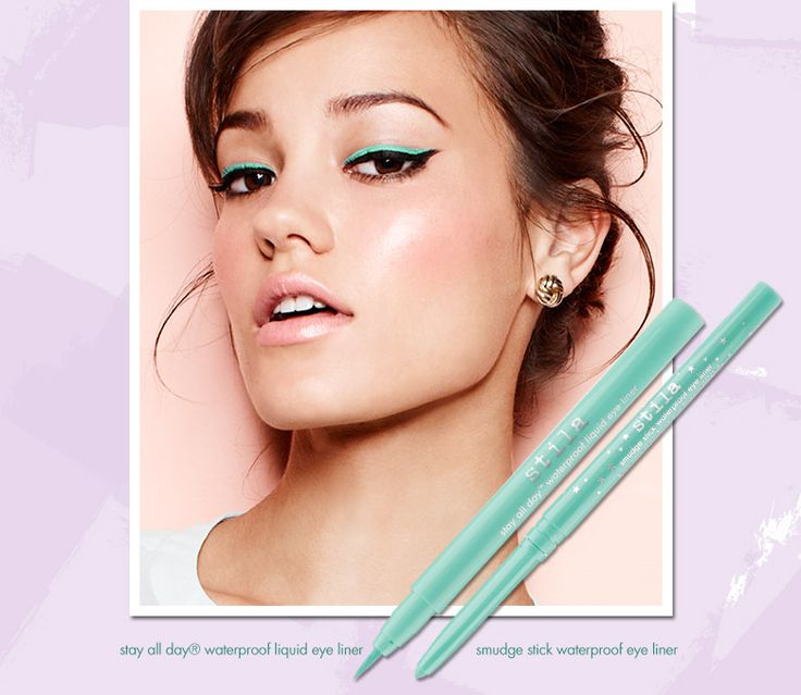 Trend - This look was created using Stila Stay all day waterproof liquid eye liner in turquoise and Smudge stick waterproof eye liner in turquoise