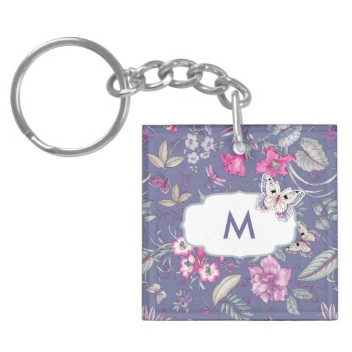 Butterfly and Flower Pattern Design Custom Monogram Gift Keychains. Perfect Gift for her for Mother's Day / Birthday / Any Occasion, in the artofmairin store at zazzle.com