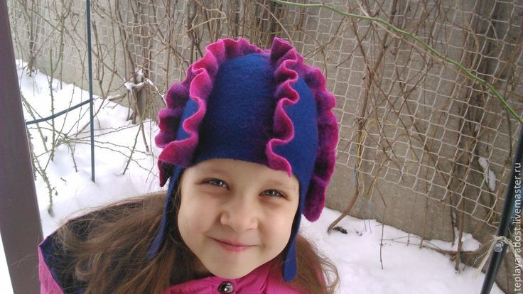 """Купить Шапочка - шлем для девочки """"Моя дракоша"""" - тёмно-синий, ручная авторская работа"""